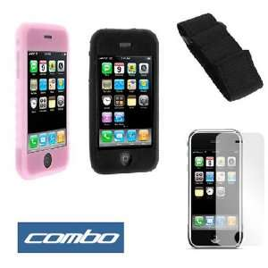Durable Flexible Soft Black + Pink Silicone Skin Case
