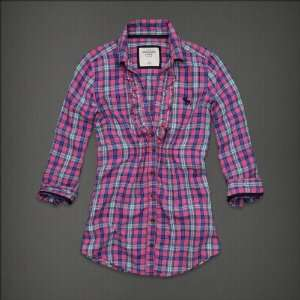 Abercrombie & Fitch Womens Plaid Shirt Pink Everything