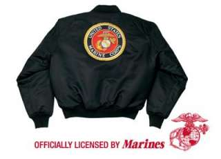 MARINE CORPS GLOBE & ANCHOR LOGO MA 1 FLIGHT JACKET LARGE   XL