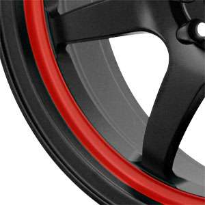 New 17X7 4 100/4 114.3 Konig Forward Black Red Stripe Wheels/Rims