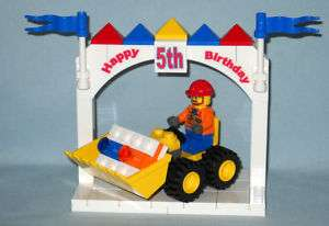 CUSTOM LEGO HAPPY 5TH BIRTHDAY CAKE TOPPER & BULLDOZER