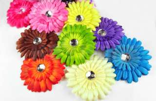 New 22pcs Daisy Girl Baby Crystal Flower Hair Clip Bow