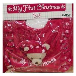 Ganz Babys 1st Christmas Bib For Christmas   Red and White Teddy Bear