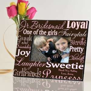 Personalized Junior Bridesmaid Frame   Pink on Brown Baby