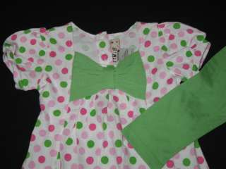 NEW Apple Green Dots Dress & Pants Girls Clothes 3T Spring Fall