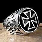 SOLID SILVER BRASS FOUR POINT TEMPLAR CROSS BLACK INLAY MENS RING SIZE
