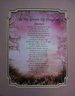 GROWN UP DAUGHTER PERSONALIZED POEM MOTHERS DAY GIFT