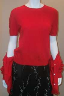 red 100% Cashmere twinset M L knit top cardigan sweater