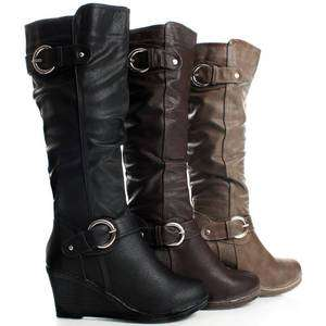 Tall Equestrian Buckle Cute Wedge Heels Womens Knee High Boots