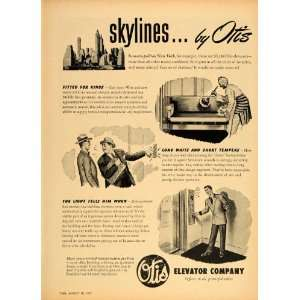1947 Ad Otis Elevator Operator New York City Skyline