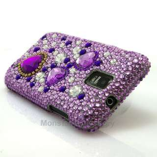 Purple Heart Bling Hard Case Cover For Samsung Galaxy S2 Skyrocket