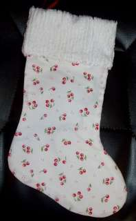 Handmade Christmas Stocking ~ Cherry on White