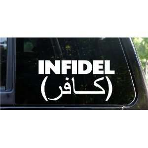 INFIDEL 7 WHITE funny die cut decal / sticker USA Army Navy USMC Air