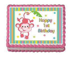 FISHER PRICE ABC MONKEY GIRL MOD 1ST BIRTHDAY Edible Party Cake Topper