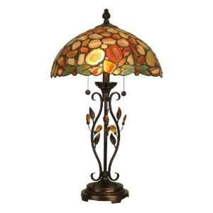 Table Lamp, Antique Golden Sand and Art Glass Shade