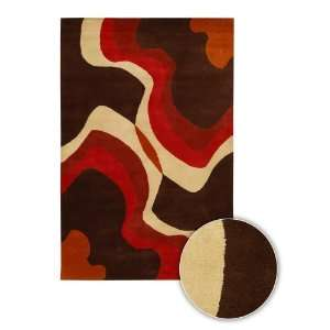 Chandra Rugs Daisa Contemporary Wool Area Rug 14 Red Chocolate Waves 2