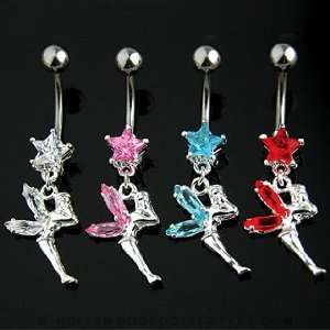 Fairy Belly Ring With Red Star and Gem Wings   14G   3/8 Bar Length