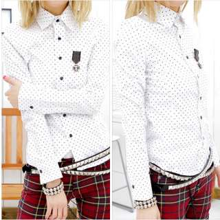 Punk Unisex Bloodycat Mens Womens Dot Pattern White Shirt Punk Dress