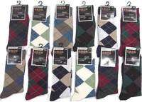 12 pair Mens Argyle Dress Socks Size 10 13 NWT