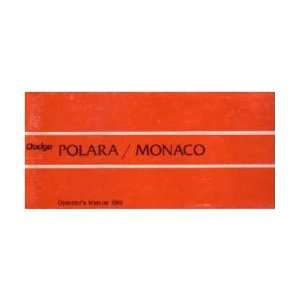 1969 DODGE POLARA MONACO Owners Manual User Guide