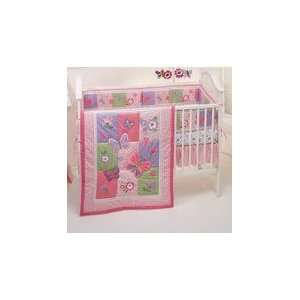 4 Piece Girls Purple and Pink Butterfly Crib Set (Gorgeous