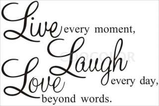 Black Live  Laugh  LOVE Removable Wall Decal Sticker