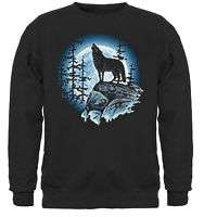 Lone Wolf Howling at the moon Black Crewneck Sweatshirt