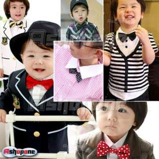 Children Kids Boys Toddler Infant Solid Bowtie Pre Tied Wedding Bow