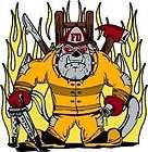 Firefighter Decal Sticker   Bulldog with hose 4 x 4 items in