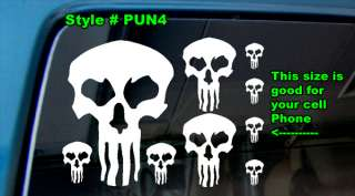 PUNISHER VINYL DECAL STICKER WINDOW SKULL CROSS BONES