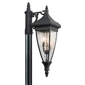 Venetian Rain Post Lantern in Black/Gold