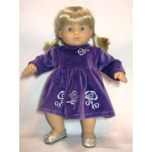 Purple Velvet Dress With Silver Embroidery. Fits 15 Dolls