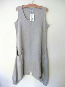 ARTHURIO LINO COMPLETO Lagenlook LINEN Sleeveless Tunic Dress Ecru