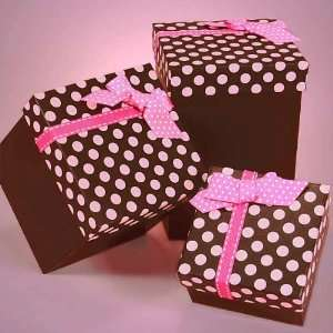 Pink and Chocolate Polka Dot Favor Box
