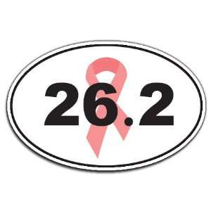 Breast Cancer Awareness 26.2 Marathon Pink Ribbon Oval Car