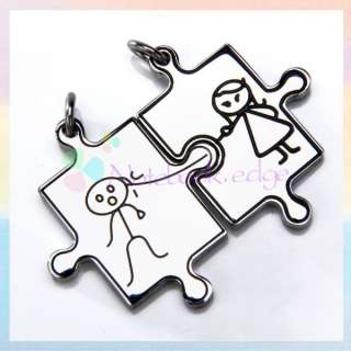 Men Women Stainless Steel Love Jigsaw Pendant F/Necklace CHAIN LOVER