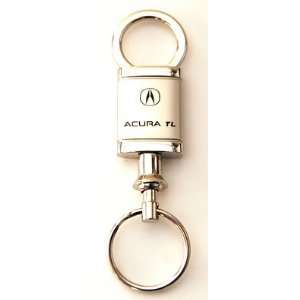 Satin Chrome Valet Keychain with Detachable Ring Key Fob Automotive