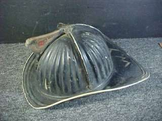 Vintage Cairns Black Metal Fire Fighter Helmet