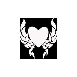HRT (91) 6 white vinyl decal tribal design heart die cut