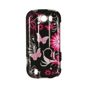 PINK BUTTERFLY FLOWER ON BLACK Design Hard Cover Protector