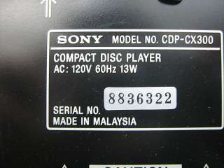 SONY COMPACT DISC PLAYER CDP CX300