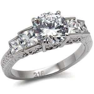 2 Ct Stainless Steel Classic Engagement Ring with Clear