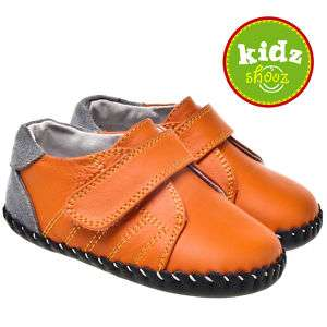Boys Infant Toddler Leather Soft Sole Baby Shoes Orange