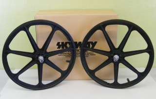 Skyway BMX Tuff Wheel 24 Cruiser Mag Wheels Black Set NEW
