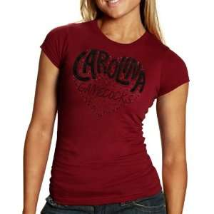 NCAA South Carolina Gamecocks Ladies Glitter Heart T Shirt