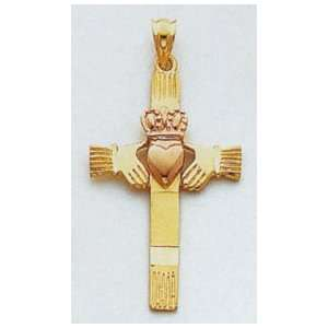 14kt Two Tone Gold Claddagh Cross   D27 Jewelry