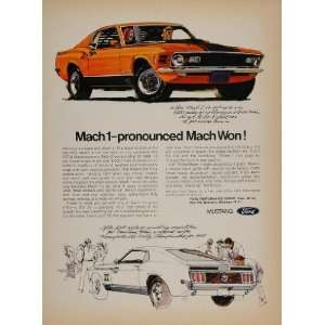 1970 Print Ad Ford Mustang Mach 1 SCCA Rally Race Car
