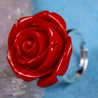 Type Man Made Coral Flower Ring