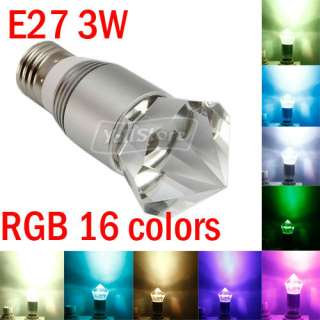 E27 3w RGB crystal flash LED light Bulb+Remote Control