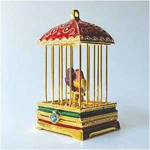 in Red Birdcage Box Swarovski Crystals 24K Gold Love Birds Figu